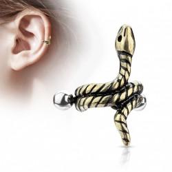 Piercing hélix cartilage avec un serpent doré Kaduk HEL071