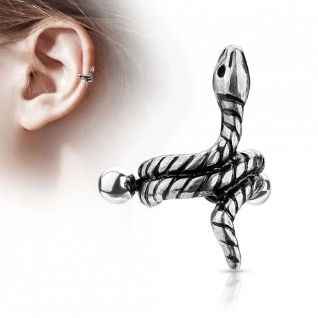 Piercing hélix cartilage avec un serpent antique silver Obaz HEL071