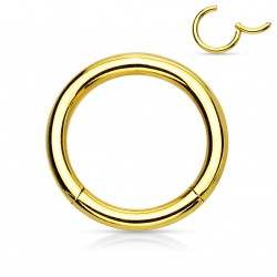Piercing anneau 12 x 1,2mm à segment doré Gadex