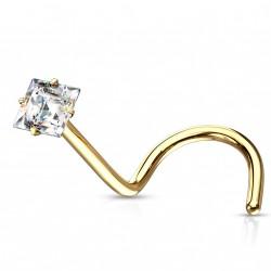 Piercing nez coudé doré avec zirconium square blanc Xiko NEZ165