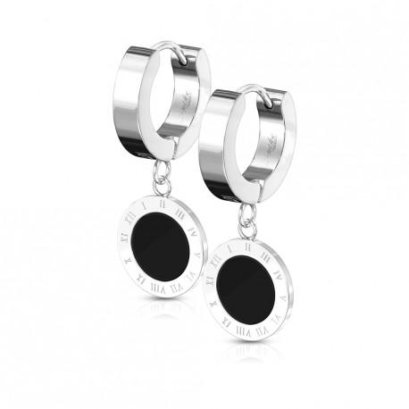 Boucle anneau oreille noir avec des chiffres romains Yauk ANN125