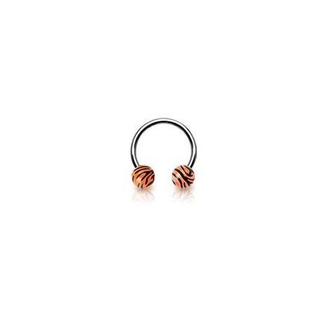 Piercing fer à cheval 10mm zébré orange Nay Piercing oreille3,49€