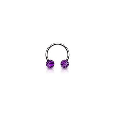 Piercing fer à cheval 10mm zébré violet Neo FER004