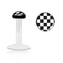 Piercing labret 6mm damier noir blanc Pokol LAB010