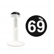 Piercing labret 8mm noir et logo 69 Nya Piercing labret3,25€