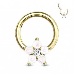 Piercing anneau doré articulé 8 x 1,2mm avec une fleur en opaline Baxil ANN032