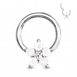 Piercing anneau articulé 8 x 1,2mm avec une fleur en opaline Awa ANN032