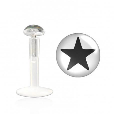 Piercing labret 8mm étoile noire Pitisak LAB011