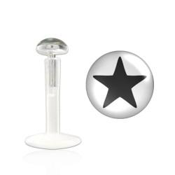 Piercing labret 10mm étoile noire Pihyp LAB011