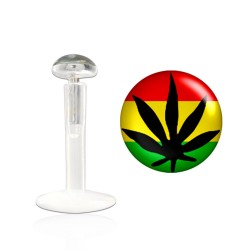 Piercing labret 10mm feuille de cannabis Yumo LAB029