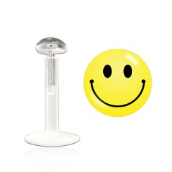 Piercing labret 10mm smiley jaune Axay LAB104