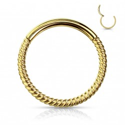 Piercing anneau doré articulé 10 x 1mm et torsadé Sayc