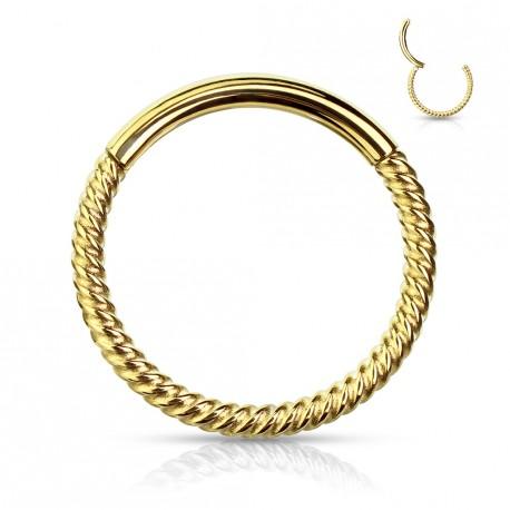 Piercing anneau doré articulé 10 x 1mm et torsadé Sayc ANN033