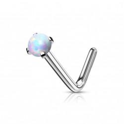 Piercing nez coudé avec une opaline blanche Dux NEZ170