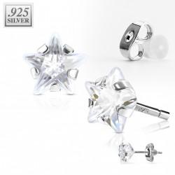 Puces d'oreilles étoile 4mm en zirconium blanc Gy PUC019