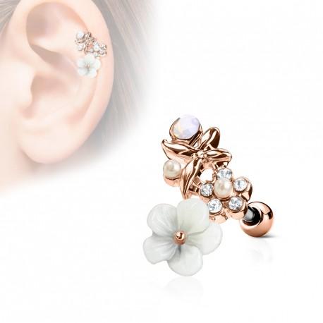 Piercing hélix or rose avec fleurs et perles blanche Wasu HEL066