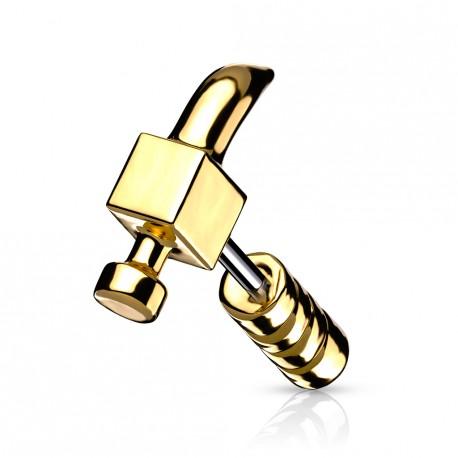 Piercing cartilage 6mm avec un marteau doré Wiuk TRA081