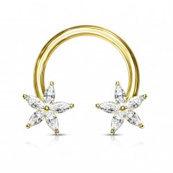 Piercing fer à cheval 12mm doré avec deux fleurs en zirconium Loxik FER026