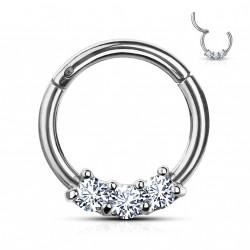 Piercing anneau articulé 8 x 1,2mm avec trois zirconiums Bauk ANN063