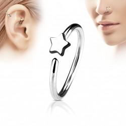 Piercing anneau acier 8mm avec une étoile Vary NEZ061