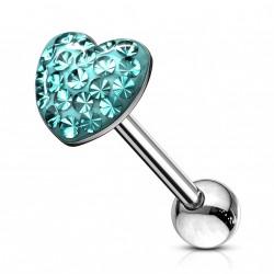 Piercing langue cœur avec des crystals bleu Tigru Piercing langue5,90€