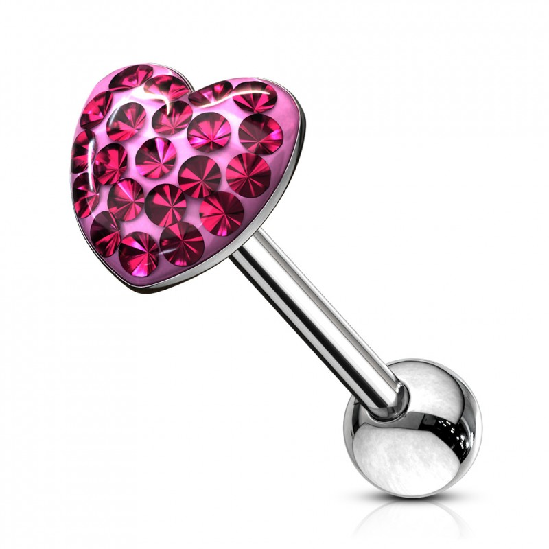 Piercing langue cœur avec des crystals rose Tiger Piercing langue5,90€