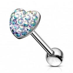 Piercing langue coeur avec crytals aurore boréale Fyte