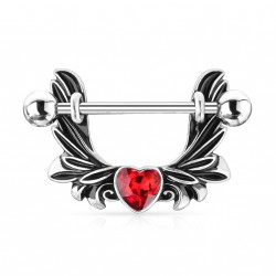 Piercing téton étrier avec des ailes d'ange et un coeur rouge Vaxuk