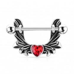 Piercing téton étrier avec des ailes d'ange et un coeur rouge Vaxuk Piercing téton5,80€