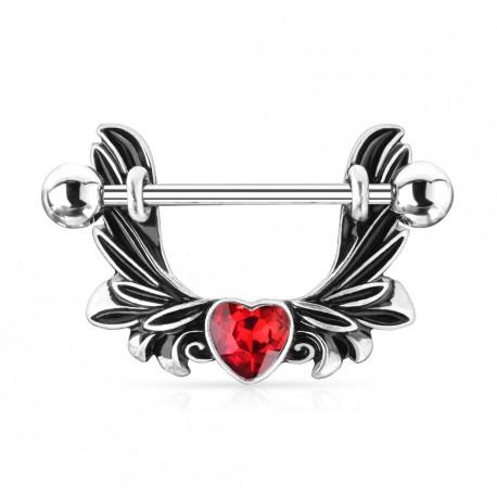 Piercing téton étrier avec des ailes d'ange et un coeur rouge Vaxuk TET033
