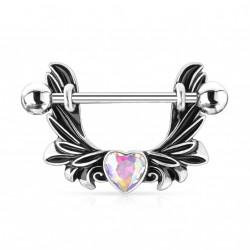 Piercing téton étrier avec des ailes d'ange et un coeur aurore boréale Koxy