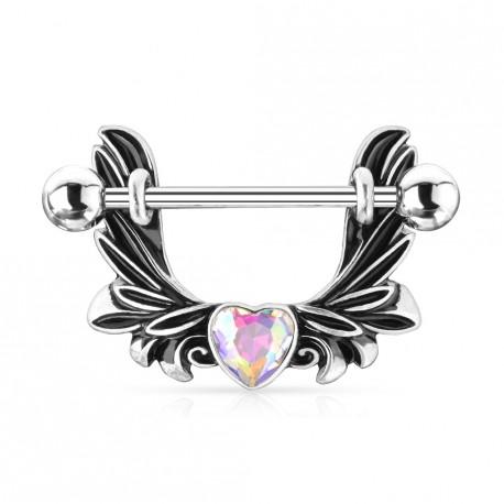 Piercing téton étrier avec des ailes d'ange et un coeur aurore boréale Koxy TET033