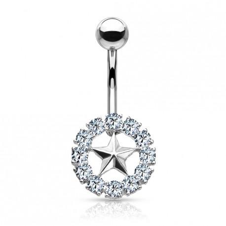 Piercing nombril avec une couronne et une étoile Dayk NOM007