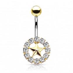 Piercing nombril doré avec une couronne et une étoile Dukix