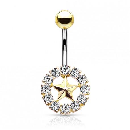 Piercing nombril doré avec une couronne et une étoile Dukix NOM007