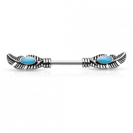 Piercing téton tribal en forme de plumes Vaqyk TET047