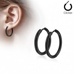 Boucle anneau oreille noir d'un diamètre 16mm Oaxy ANN035