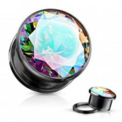 Piercing plug 6mm noir avec zirconium aurore boréale Kikox PLU015