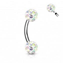 Piercing arcade boules 4mm en crystal aurore boréale Jassu ARC128