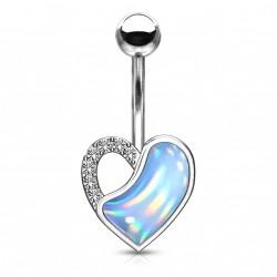 Piercing nombril coeur et opaline bleu Xasqy NOM005