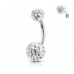 Piercing nombril boules avec des crystals blanc Waqyu NOM172