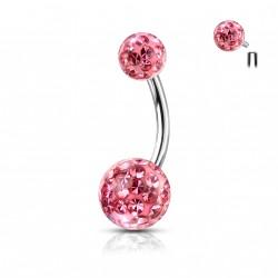 Piercing nombril boules avec des crystals rose Wyu NOM172
