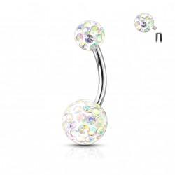 Piercing nombril boules avec des crystals aurore boréale Loky NOM172