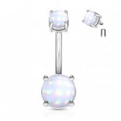 Piercing nombril en époxy blanc lumineux Cuwo NOM623
