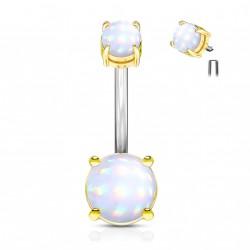Piercing nombril doré en époxy blanc lumineux Cliox NOM623