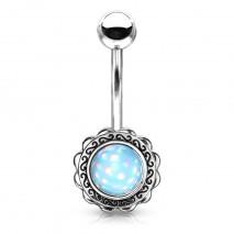 Piercing nombril fleur et coeur en époxy bleu lumineux Caxak Piercing nombril3,99€