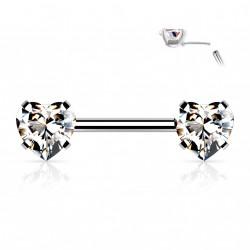 Piercing téton 10mm avec coeurs en zirconium blanc Kox Piercing téton5,40€