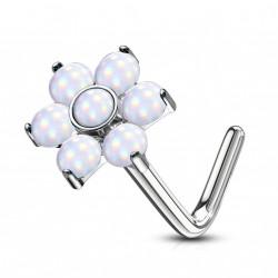 Piercing nez coudé avec une fleur en époxy blanche Xaqy NEZ016