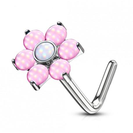 Piercing nez coudé avec une fleur en époxy rose Xiko NEZ016