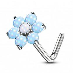 Piercing nez coudé avec une fleur en époxy bleu Onay NEZ016